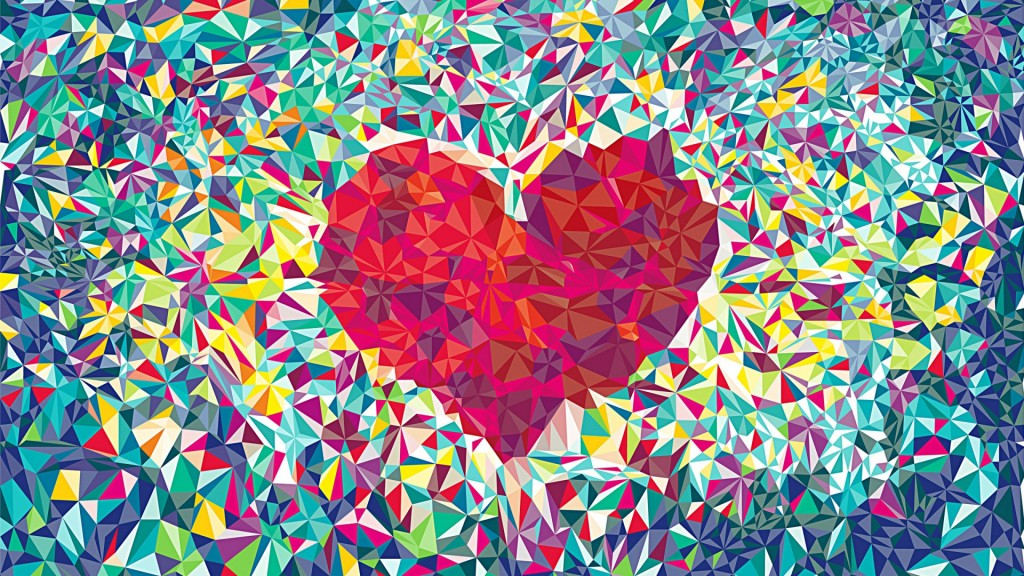 abstract heart couple decorating art