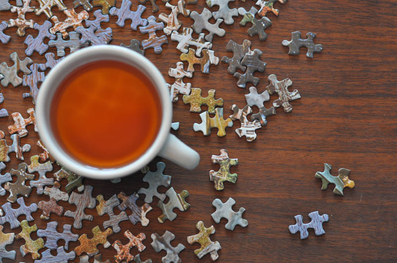 coffee and puzzles in the winter