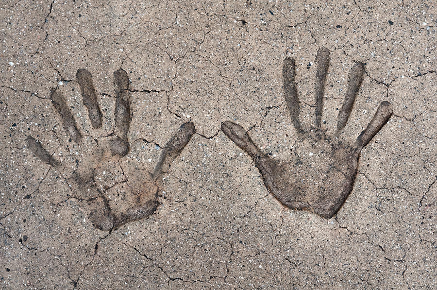 handprints in concrete