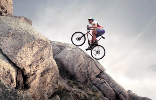 mountain biking up hill battle working out together romantic