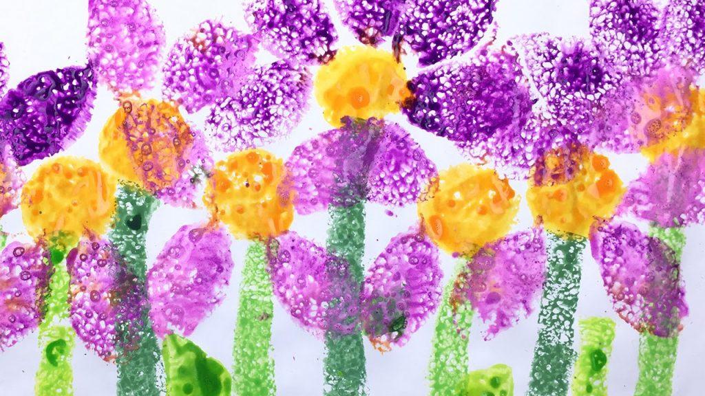 romantic art ideas flowers sponge