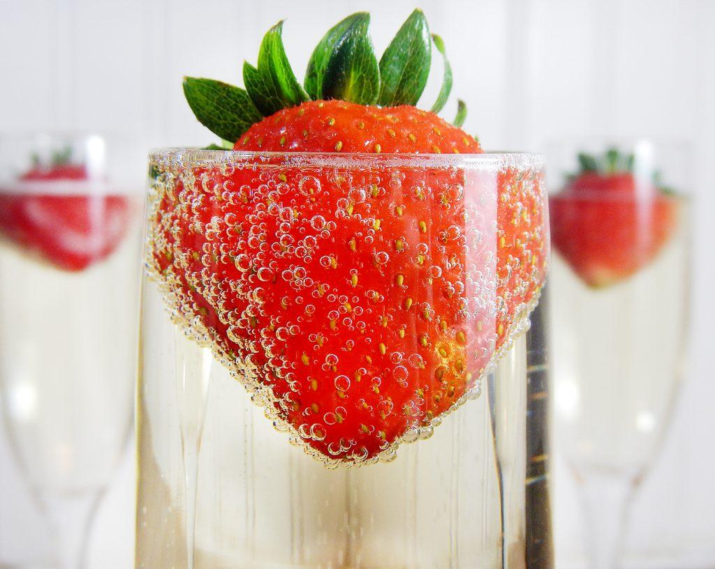romantic champagne strawberry flower petal romantic ideas