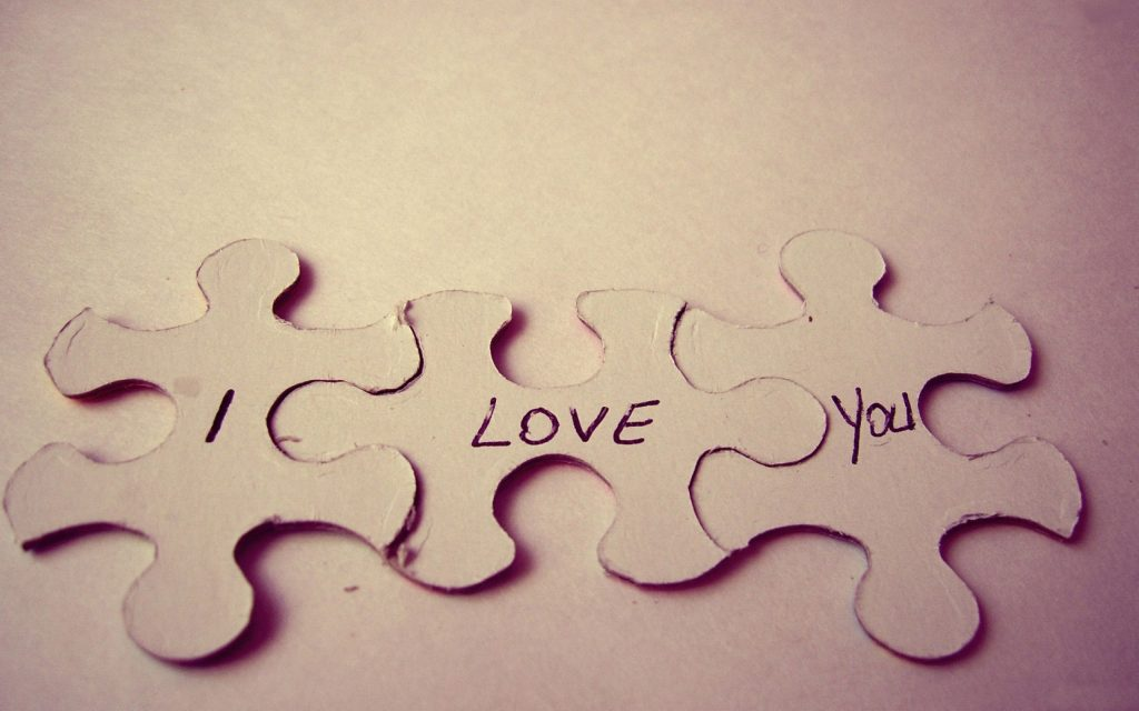 romantic love puzzle pieces