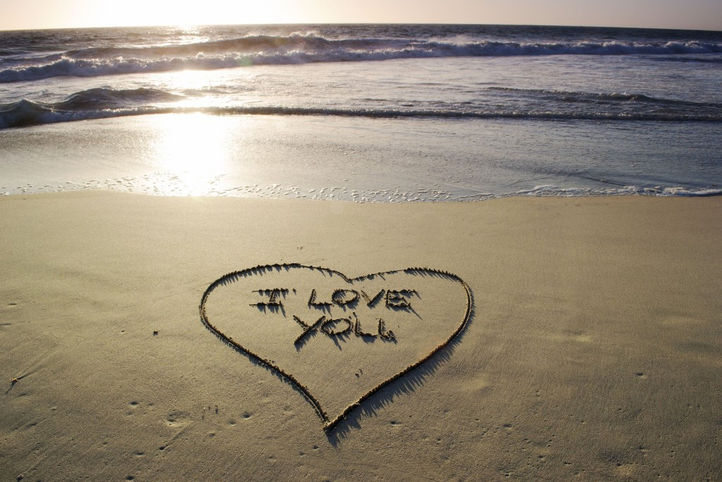 say I love you in sand ideas