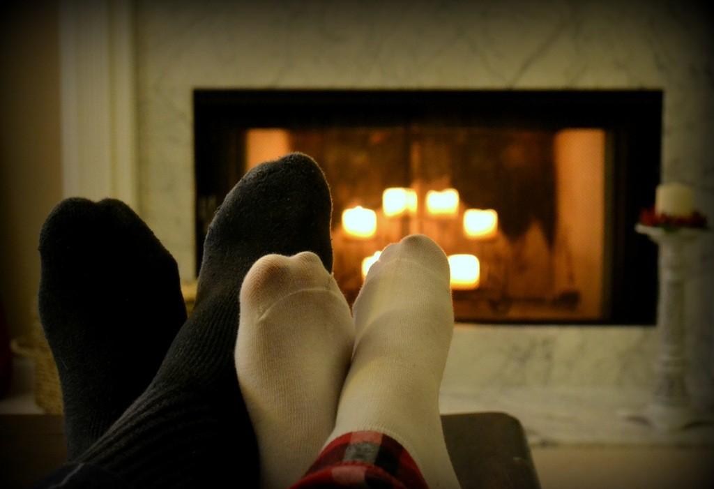 winter cuddling by fireplace