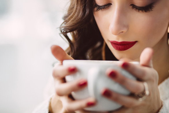 woman sipping coffee romantic taste tester tea