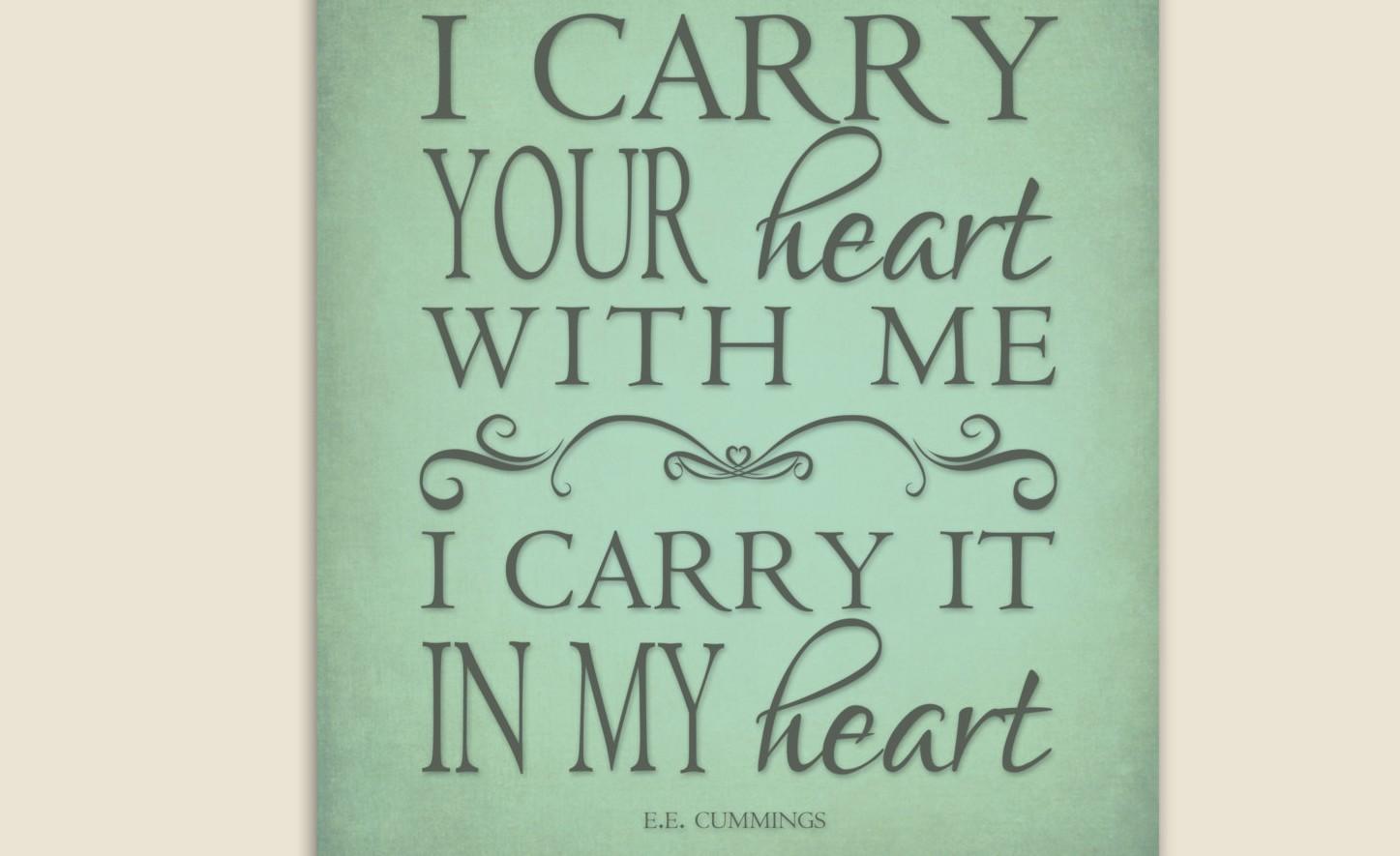 E e cummings i carry your heart